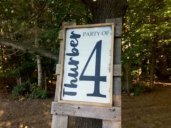 Personalized Last Name Party of 4 Wood Sign