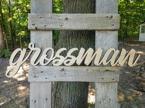 Personalized Last Name Wood Cutout Sign
