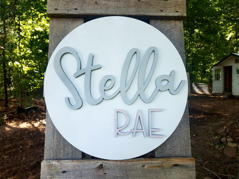 Custom Round 3D Nursey Name Decor Cutout Sign