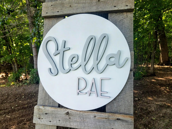 Personalized 3D Cutout Nursery Decor Sign with Child's Name
