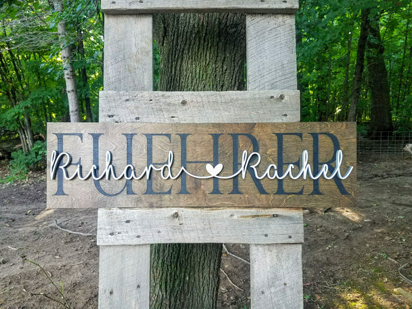 Personalized Laser Cut Wedding Decor Sign with Names