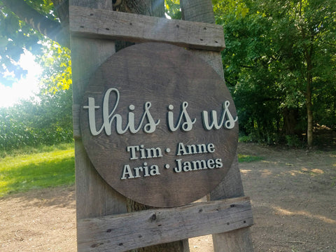 This Is Us Round Family Laser Cut Sign
