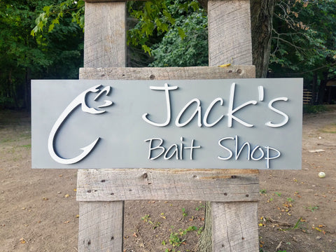 Personalized Bait Shop Fishing Bedroom Decor Cutout Sign