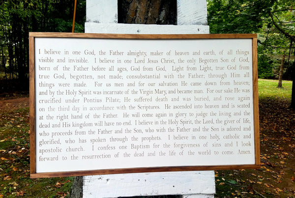 Handmade Custom Sign | Catholic Nicene Creed Prayer