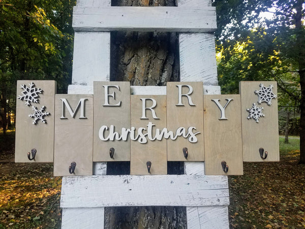 Merry Christmas Farmhouse Wooden Stocking Holder