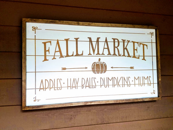 Fall Market Laser Cut Home Decor Sign with Engraved Lettering