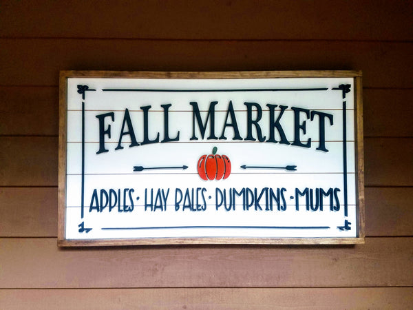Fall Market Laser Cut Home Decor Sign with 3-D Lettering