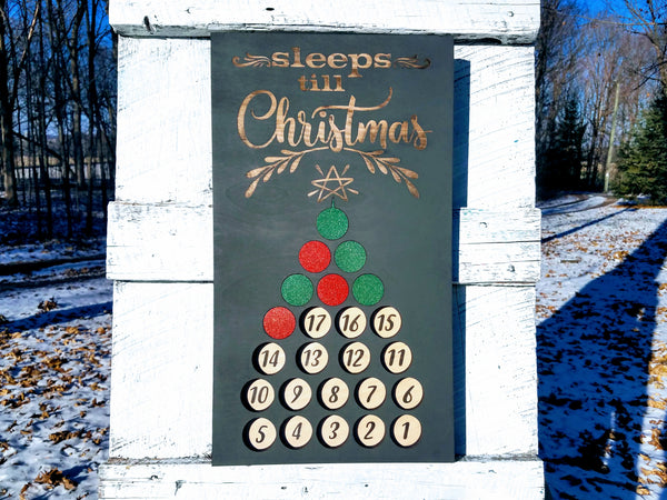 Handmade Wood Advent Calendar Christmas Tree Sign | Sleeps Until Christmas