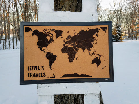 Personalized World Travel Tracker Map on Framed Cork Board