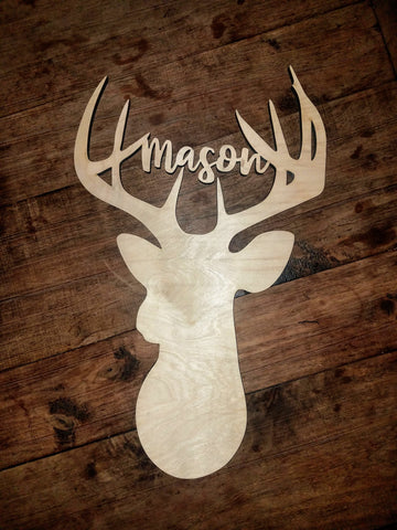 Personalized Deer Head with Antlers | Wood Cutout Sign