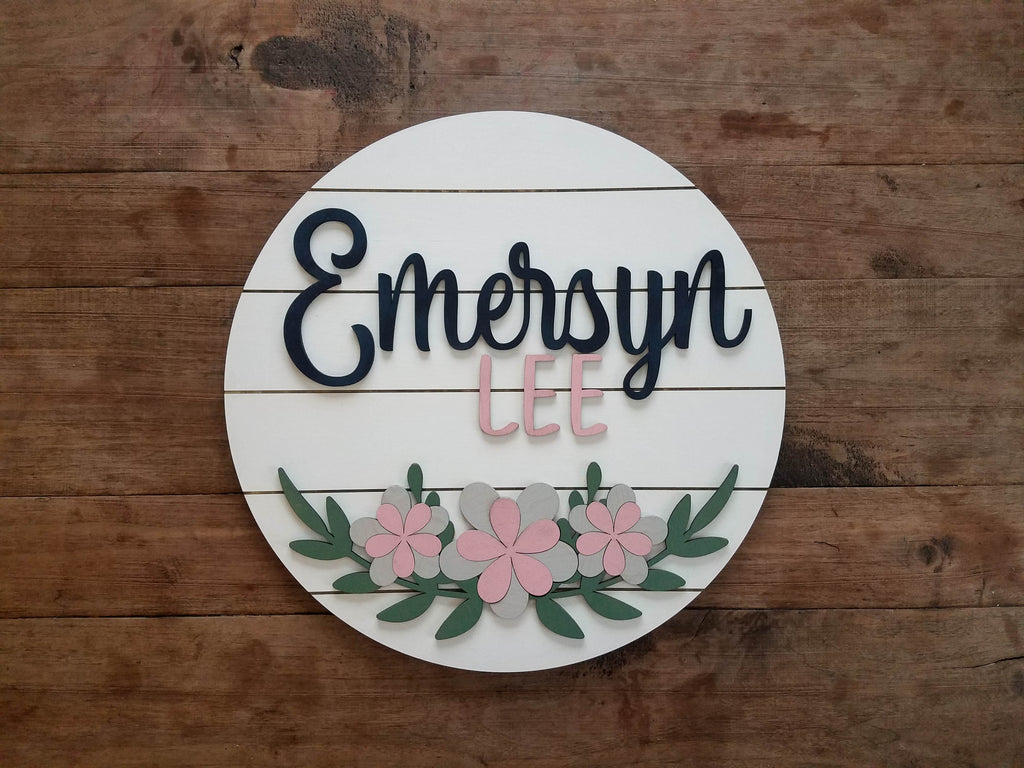 Personalized 3D Cutout Nursery Decor Sign with Child's Name and Flowers