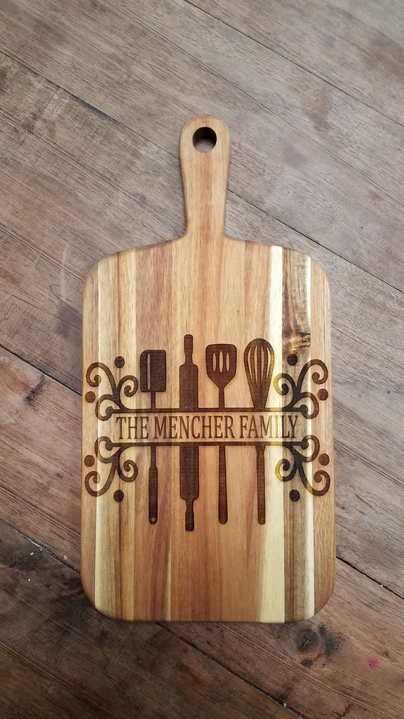 Personalized Engraved Acacia Wood Cutting Board Farmhouse Kitchen De The Farmer S Wife Wi