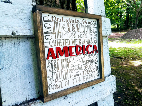 America Subway Art Sign | Raised Lettering Farmhouse Sign | 4th of July Decor | Memorial Day Decor