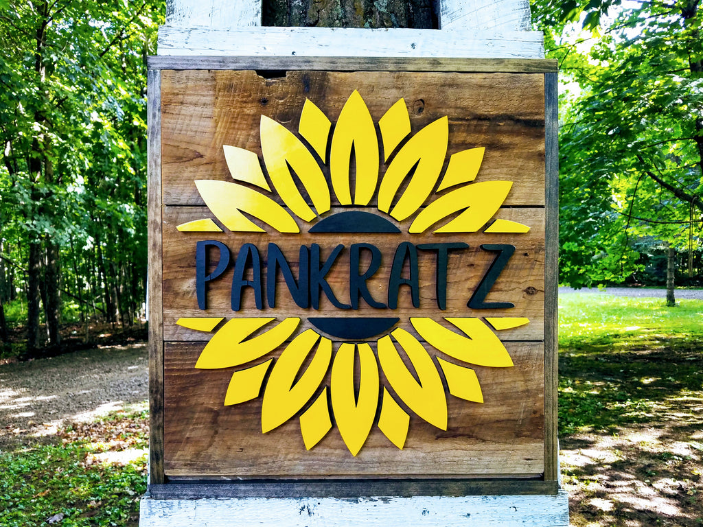 Sunflower Barn Board Sign | Handmade Custom Sign | Last Name Sign | Summer Home Decor