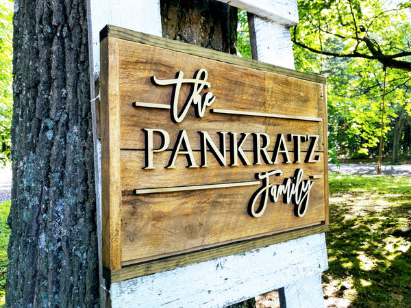 Reclaimed Wood Family Name Sign | Raised Lettering Farmhouse Name Sign | Custom Sign