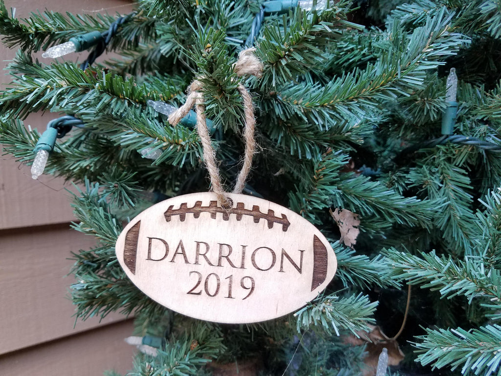 Farmhouse Christmas Ornament | Personalized Kid's Wood Christmas Ornament | Sports Ornament