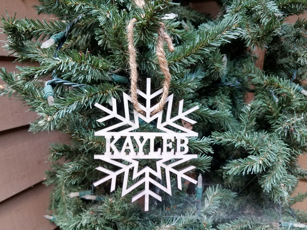 Farmhouse Christmas Ornament | Cut Out Personalized Kid's Christmas Ornament | Snowflake