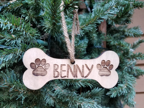 Farmhouse Christmas Ornament | Personalized Pet Christmas Ornament | Bone Ornament