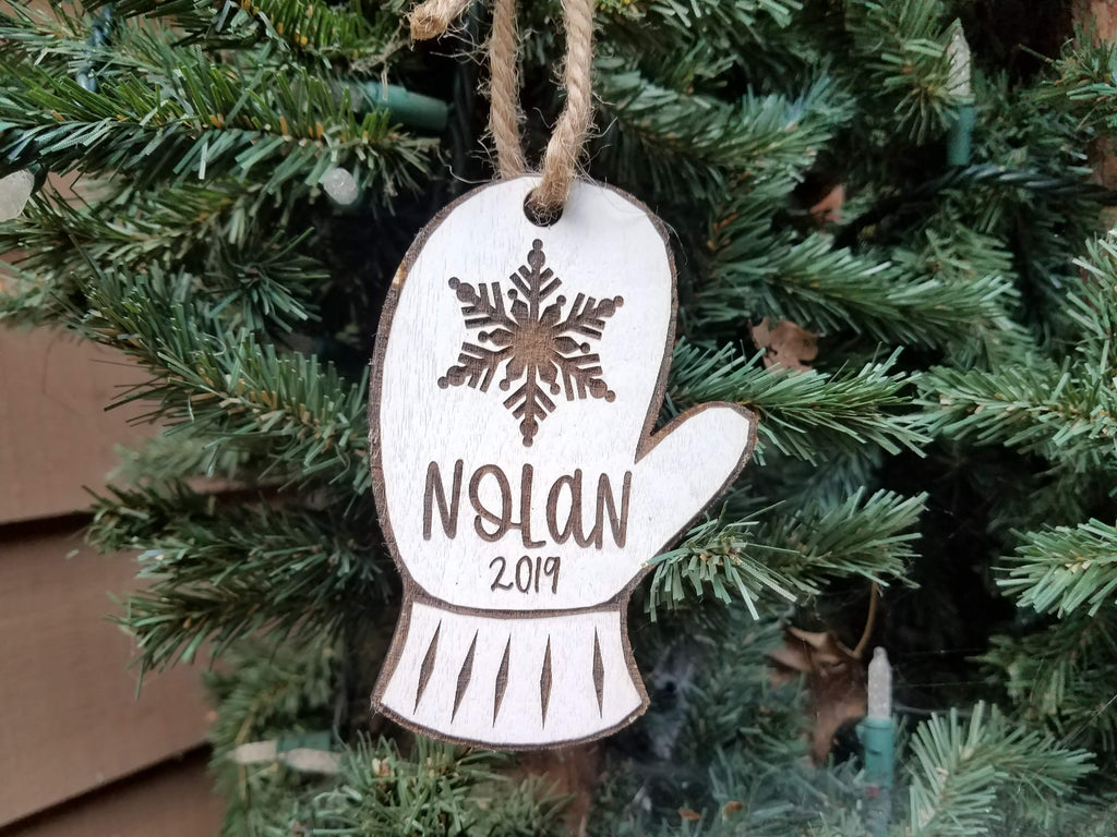Farmhouse Christmas Ornament | Personalized Kid's Wood Christmas Ornament | Mitten