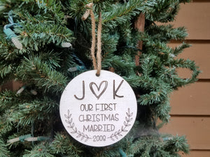 Farmhouse Christmas Ornament | Personalized Wood Christmas Ornament | First Christmas Married
