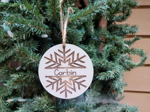 Farmhouse Christmas Ornament | Personalized Kid's Christmas Ornament | Snowflake