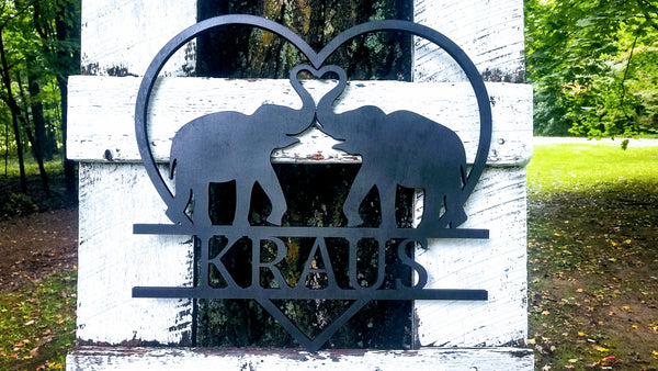 Personalized Elephants with Trunks in a Heart Wood Cutout | Elephant Love Sign