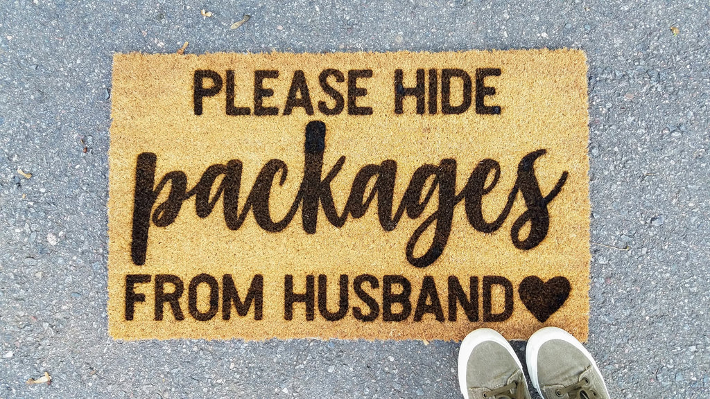 Please Hide Packages from Husband | Funny Coir Door Mat