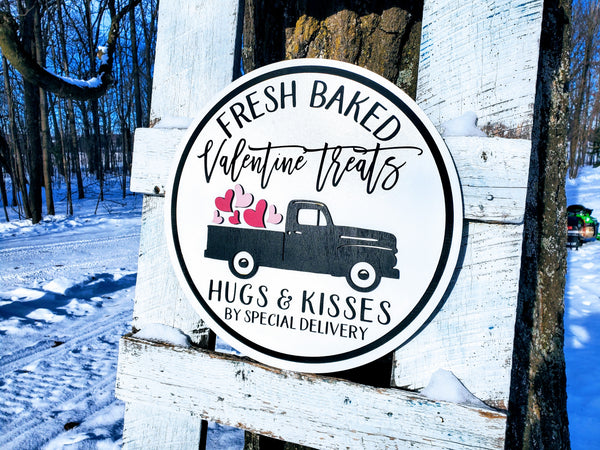 READY TO SHIP -  Valentine's Day Fresh Baked Treats Sign | Raised Farmhouse Sign | Valentine's Day Decor | Round Sign