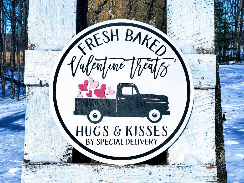 Valentine's Day Fresh Baked Treats Sign | Raised Farmhouse Sign | Valentine's Day Decor | Round Sign