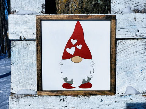 Valentine's Day Gnome Sign | Raised Farmhouse Sign | Valentine's Day Decor