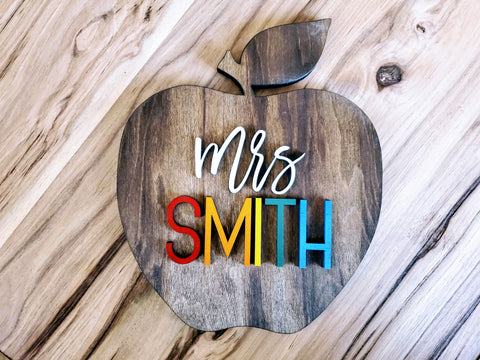 Teacher Gifts | Teacher Apple Sign | Teacher Gifts Thank You | Teacher Appreciation Gift | Teacher Gifts Personalized Sign
