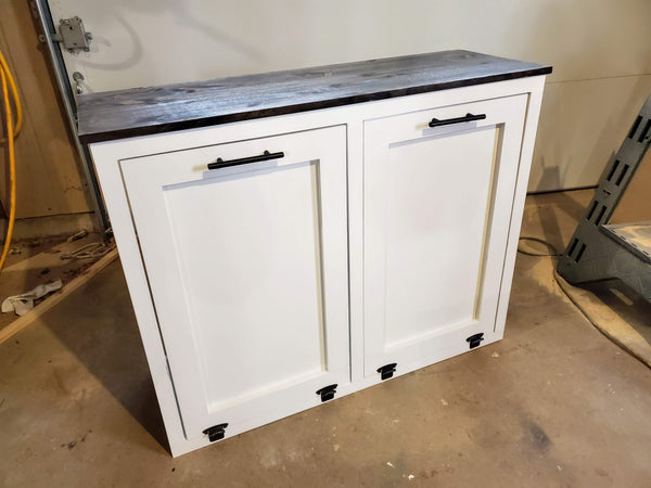 Double Tilt out Rustic Farmhouse Trash Garbage and Recycling Can - LOCAL PICK UP ONLY