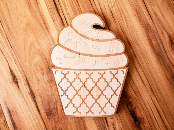 DIY Cupcake Wood Cutout Paint Kit | Cupcake Sign Paint Kit | Kids Paint Kit