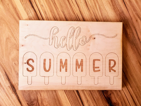 DIY Hello Summer Wood Cutout Paint Kit | Hello Summer Sign Paint Kit | Kids Paint Kit