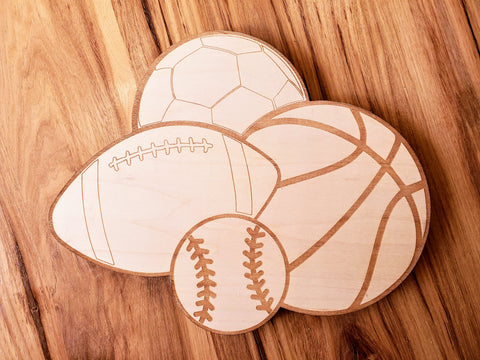 DIY Sports Wood Cutout Paint Kit | Soccer Baseball Football Basketball Paint Kit | Kids Paint Kit