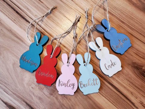 Easter Basket Name Tag | Personalized Wood Easter Bunny | Engraved Name Tag