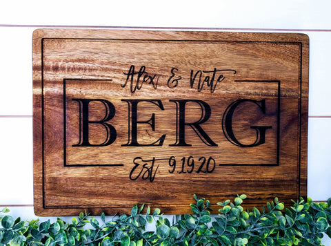 Personalized Acacia Wood Cutting Board | Farmhouse Kitchen Decor