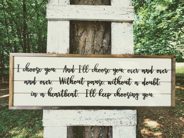 I Choose You Sign | Rustic Bedroom Decor | Shiplap Raised Letter Sign