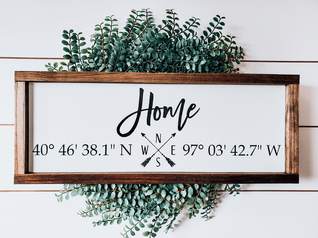 Handmade Custom Sign | Home Longitude and Latitude Coordinates