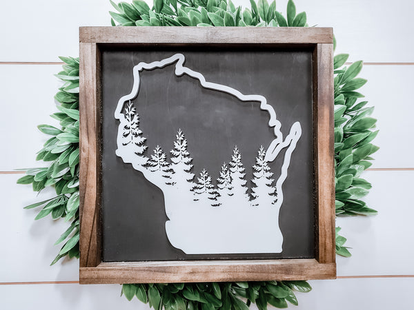 Wisconsin Forest Sign with 3D Cutout
