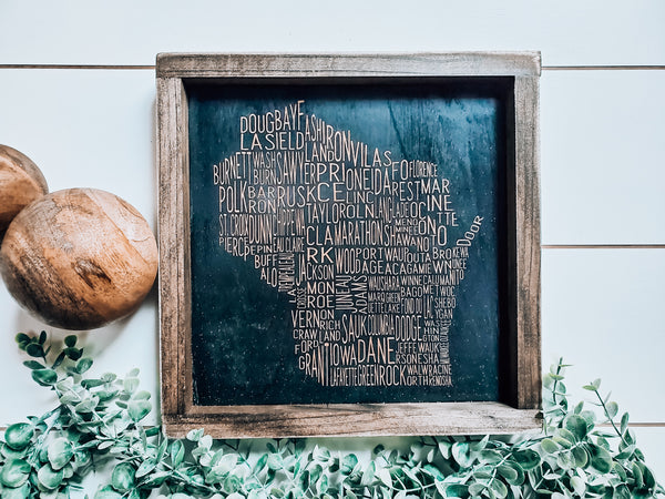 Wisconsin Counties Word Art Sign