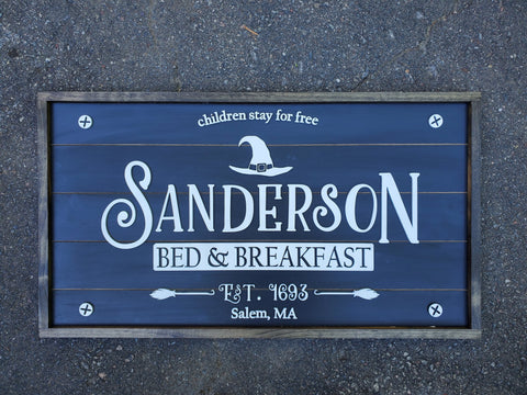 Sanderson Bed and Breakfast Halloween Laser Cut Sign with Raised Lettering | Fall Home Decor