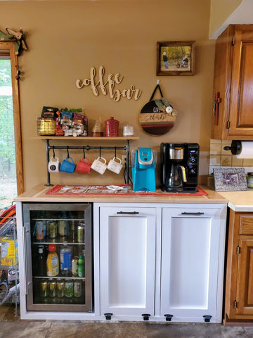 Double Tilt out Rustic Farmhouse Trash Garbage and Recycling Can with Mini Fridge Spot - LOCAL PICK UP ONLY