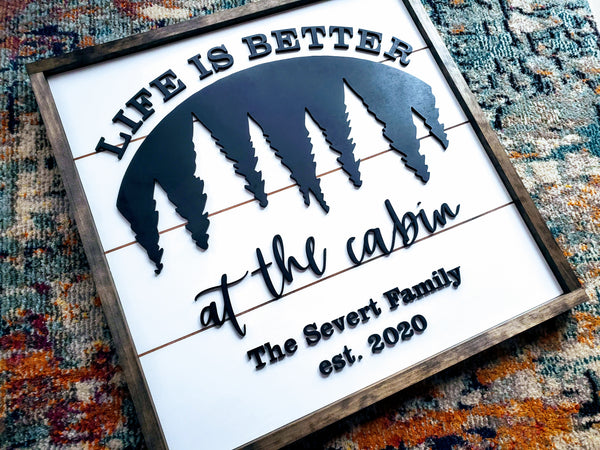 Life Is Better At The Cabin Sign with Family Name and Est Date