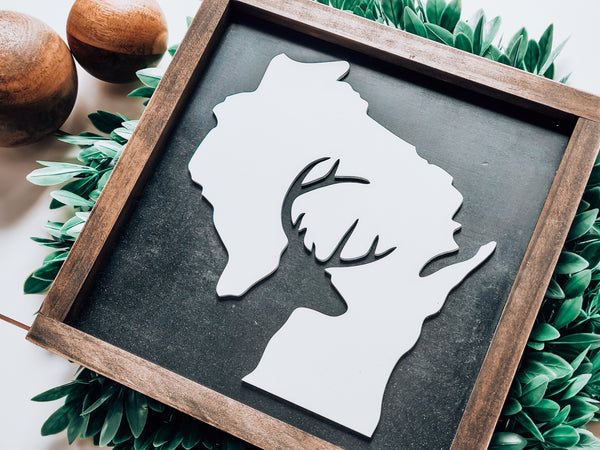 Wisconsin Deer Sign with 3D Cutout