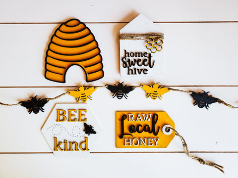 Honey Bee Tiered Tray Decor | Summer Tiered Tray Decor | Tiered Tray Decor Bundle | Tiered Tray Signs | Tiered Tray DIY Kit
