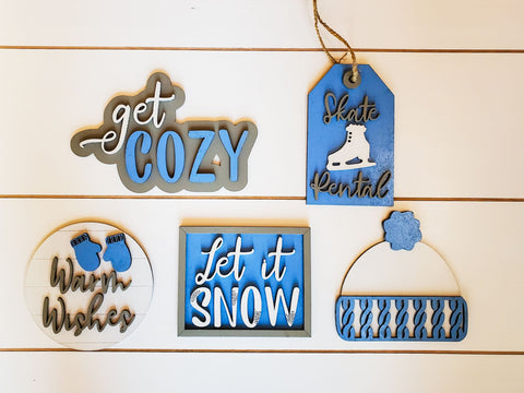 Tiered Tray Decor Winter | Tiered Tray Decor | Tiered Tray Decor Bundle | Tiered Tray Signs | Tiered Tray DIY Kit