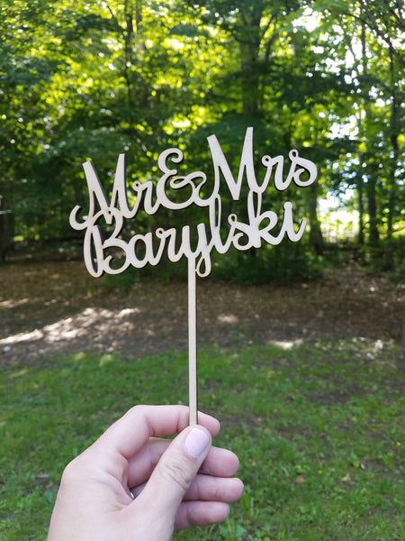 Personalized Wood Cutout Wedding Cake Topper