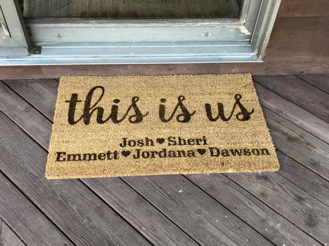 This Is Us Personalized Family Door Mat
