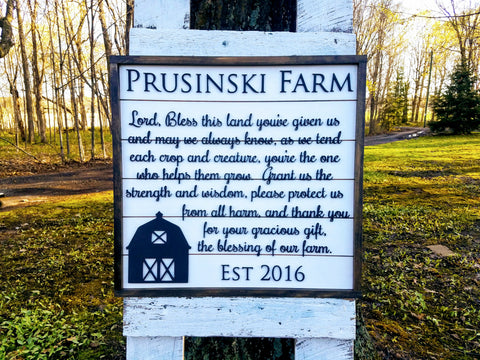 Personalized Farm Prayer Sign | Raised Lettering Farmhouse Sign with Shiplap